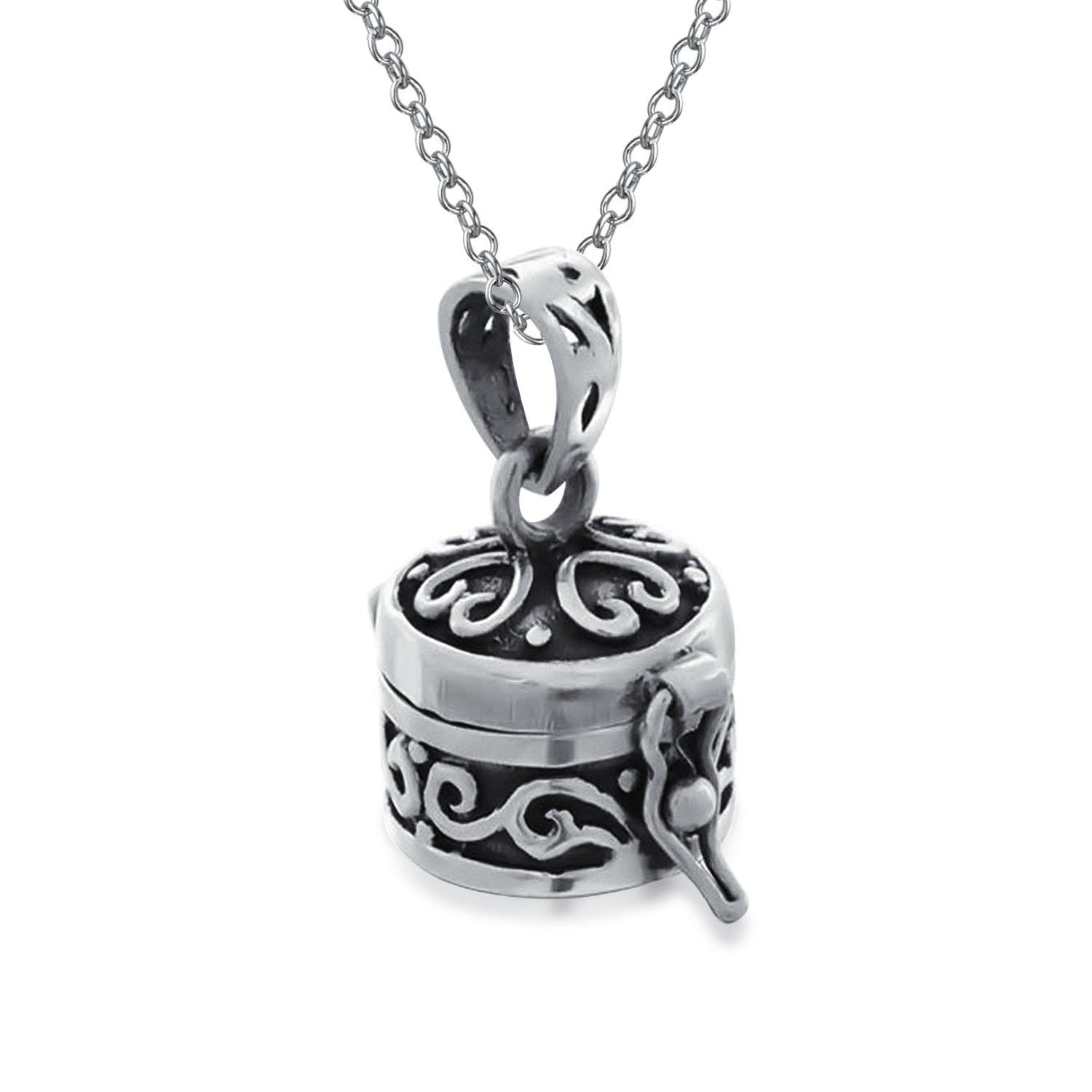 Round antiqued poison prayer box locket pendant sterling silver