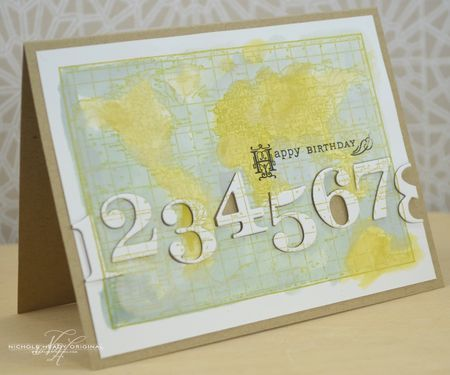Vintage Map Birthday Card by Nichole Heady for Papertrey Ink (July 2013)