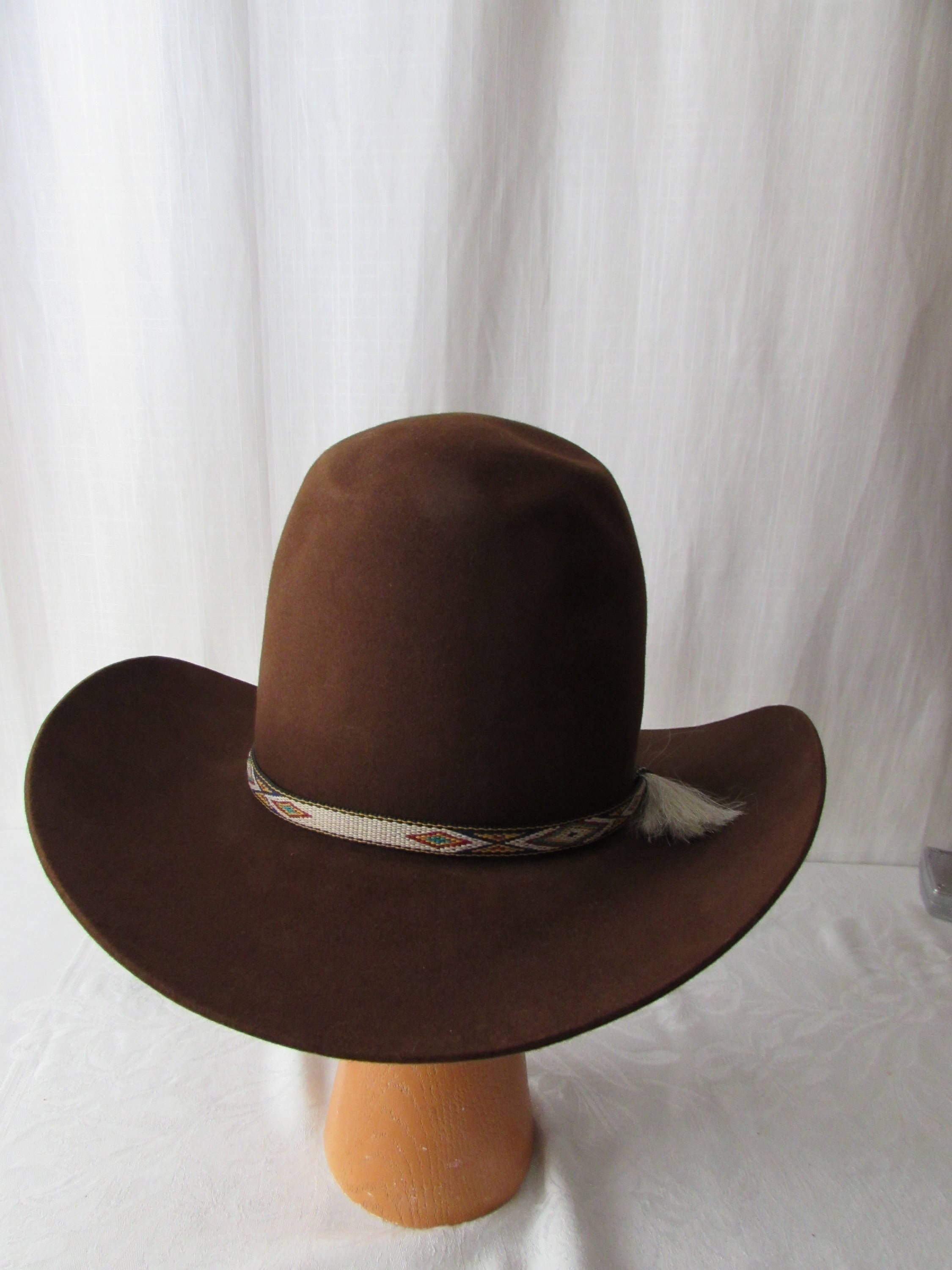 a5e843b1efa73 Large Western COWBOY Hat Resistol Brown Tall Crown xxxx Beaver Horsehair  band by WHOLESALEtoEVERYONE on Etsy