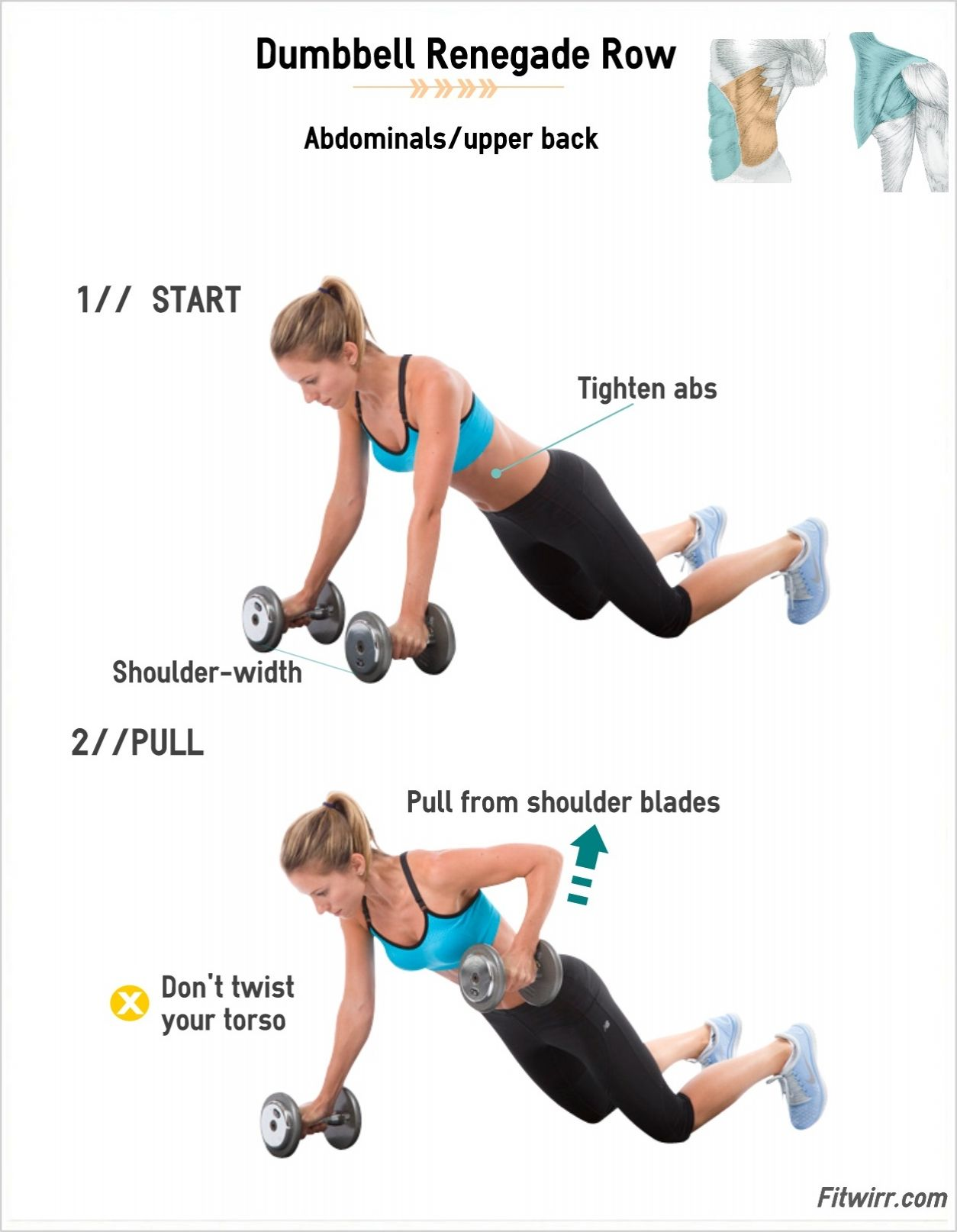 Dumbbell Renegade Rows Fitwirr Renegade Rows Dumbell Workout Dumbbell