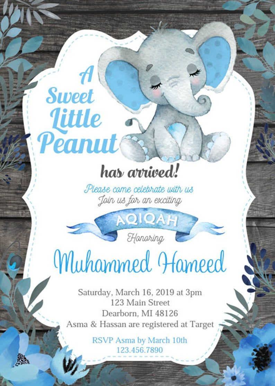 Blue Boys Aqiqah Invitation Thank You Card Jazak Allah