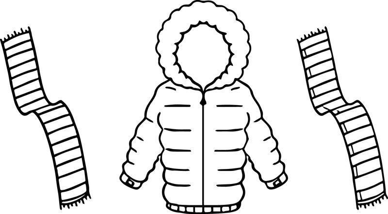 Jacket For Winter And Scarf Two Color Coloring Page Coloring