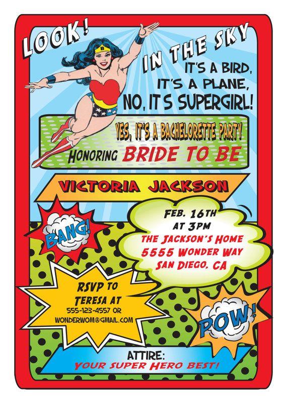 Superhero Comic Book Bachelorette Or Bridal Shower Party Invitations