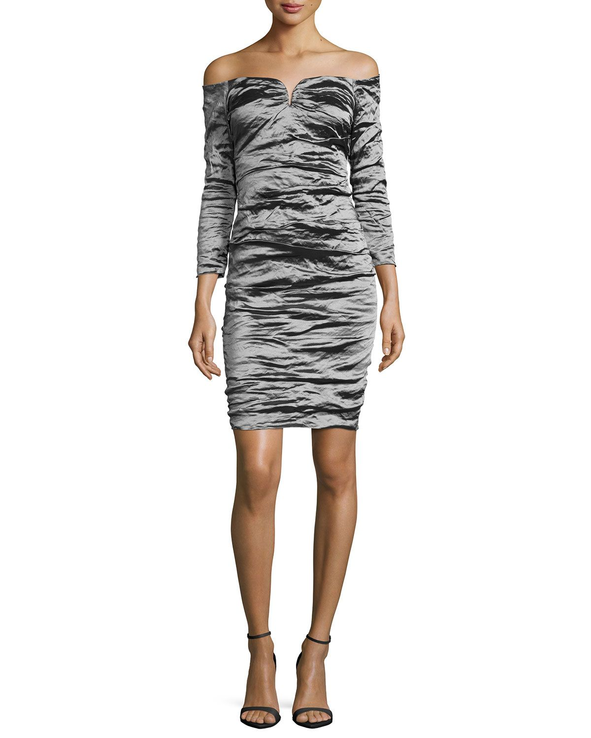 6885dd477f9f42 Off-the-Shoulder Ruched Cocktail Dress, Size: 6, Silver - Nicole Miller