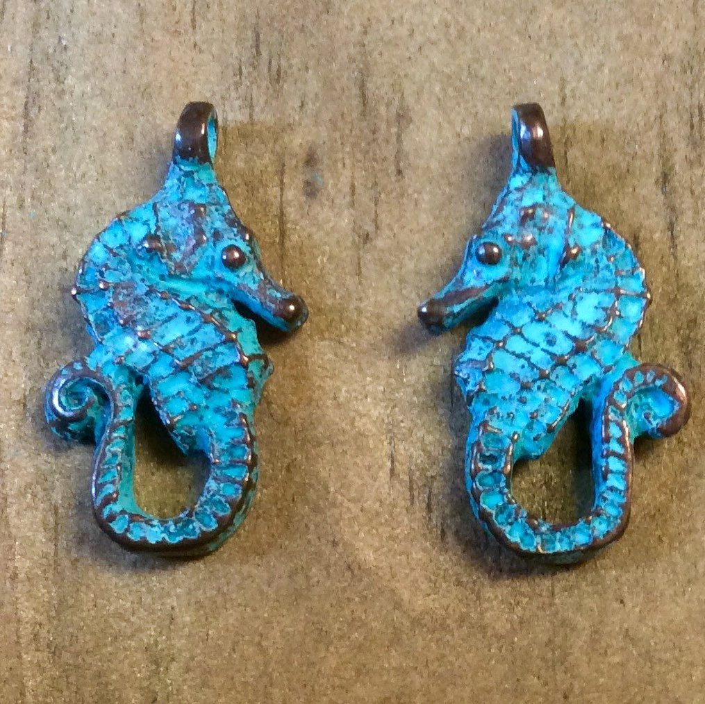 Wooden Seahorse with plastic and beads