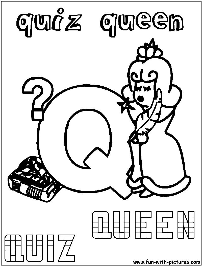 Q Quiz Queen Coloring Page