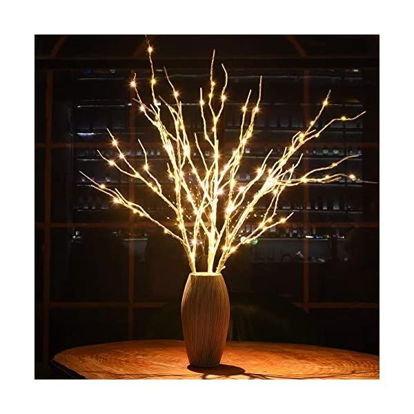 Twinkle Star Led Lighted White Birch Branches 3 Pack Artificial Branches Plug In For Indoor Outdoor In 2020 Outdoor Christmas Vase With Branches Birch Branches