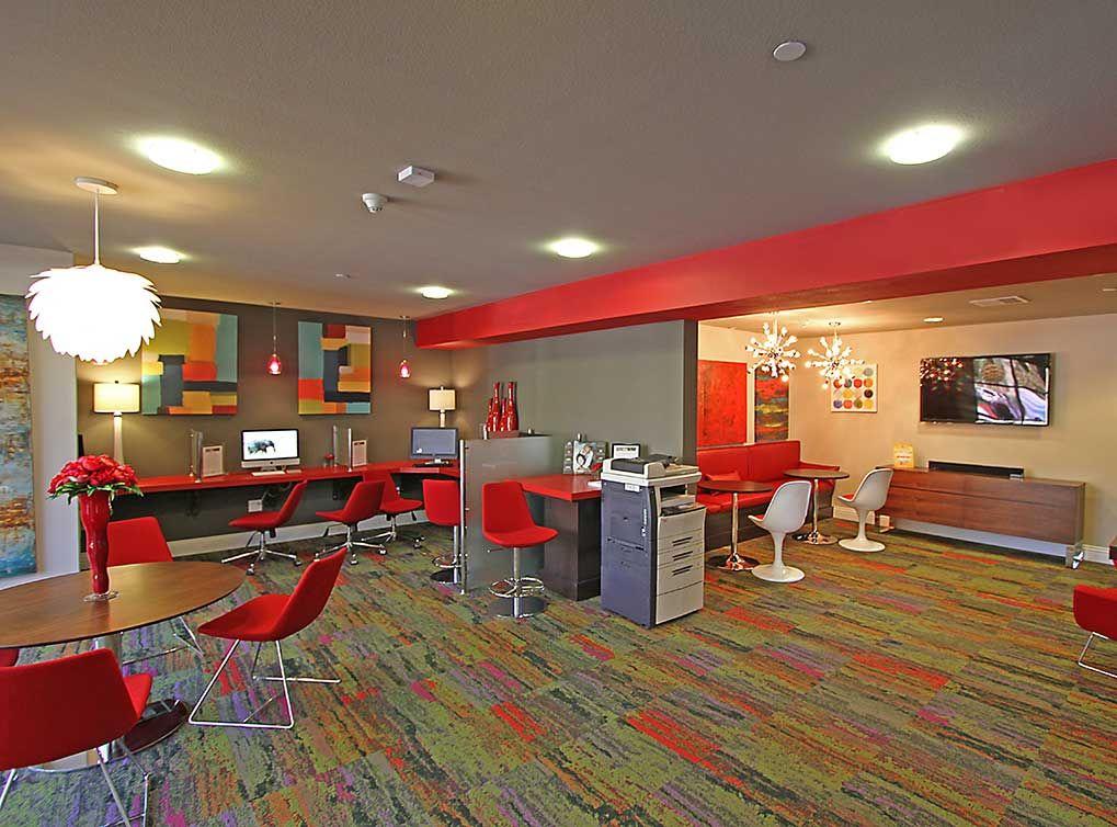 Business center at AMLI Warner Center, luxury apartments