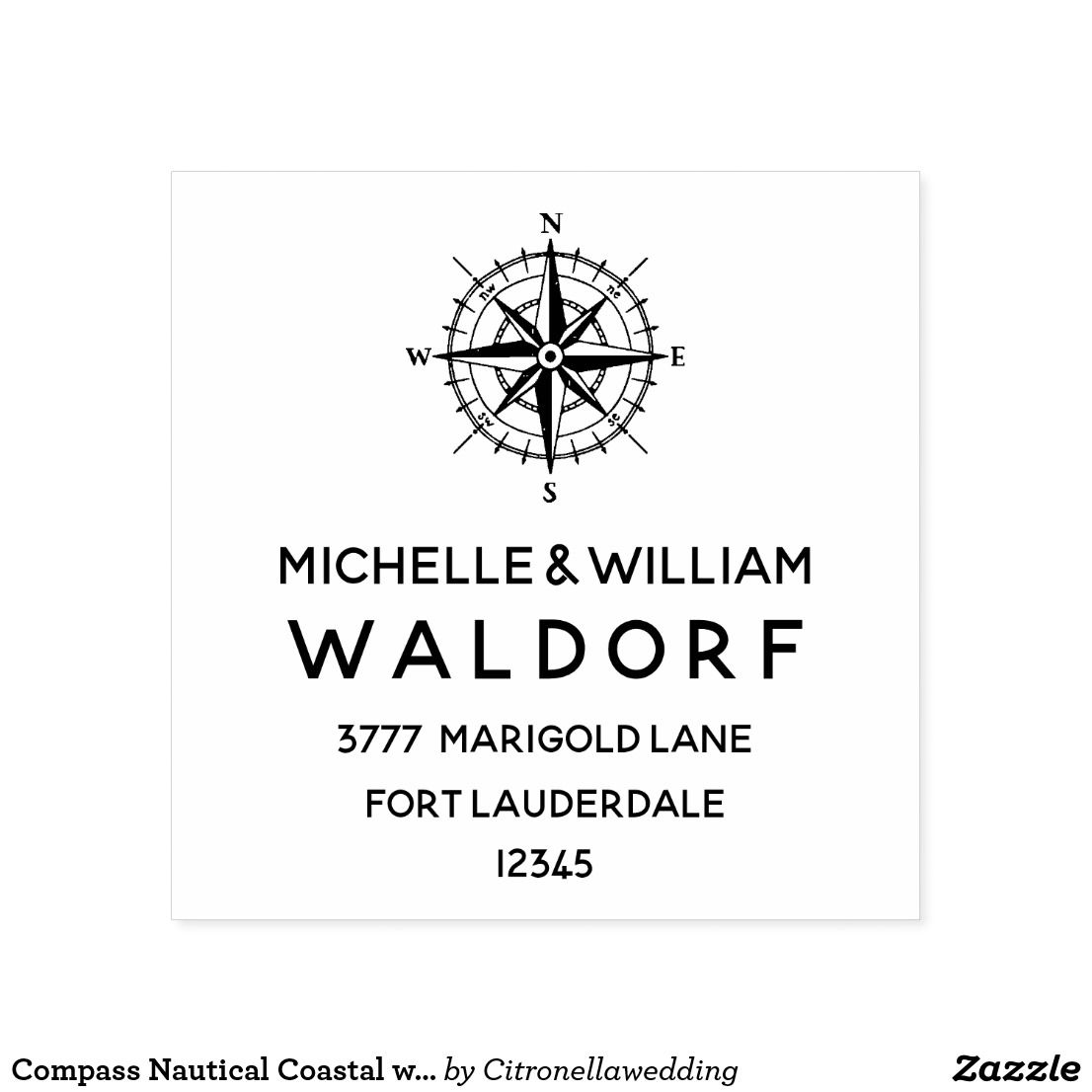 compass nautical coastal wedding return address self inking stamp in