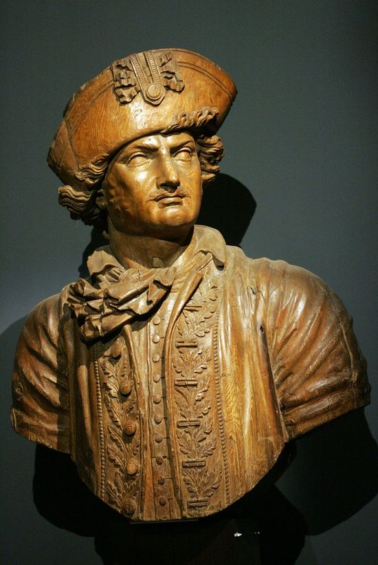 Carved Figurehead  of Abraham Duquesne marquis du Bouchet (1610-1698). Artist Sculpture workshop of Brest, ca 1822