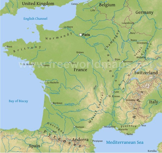 This is the physical map of Frence. | France map, France ...