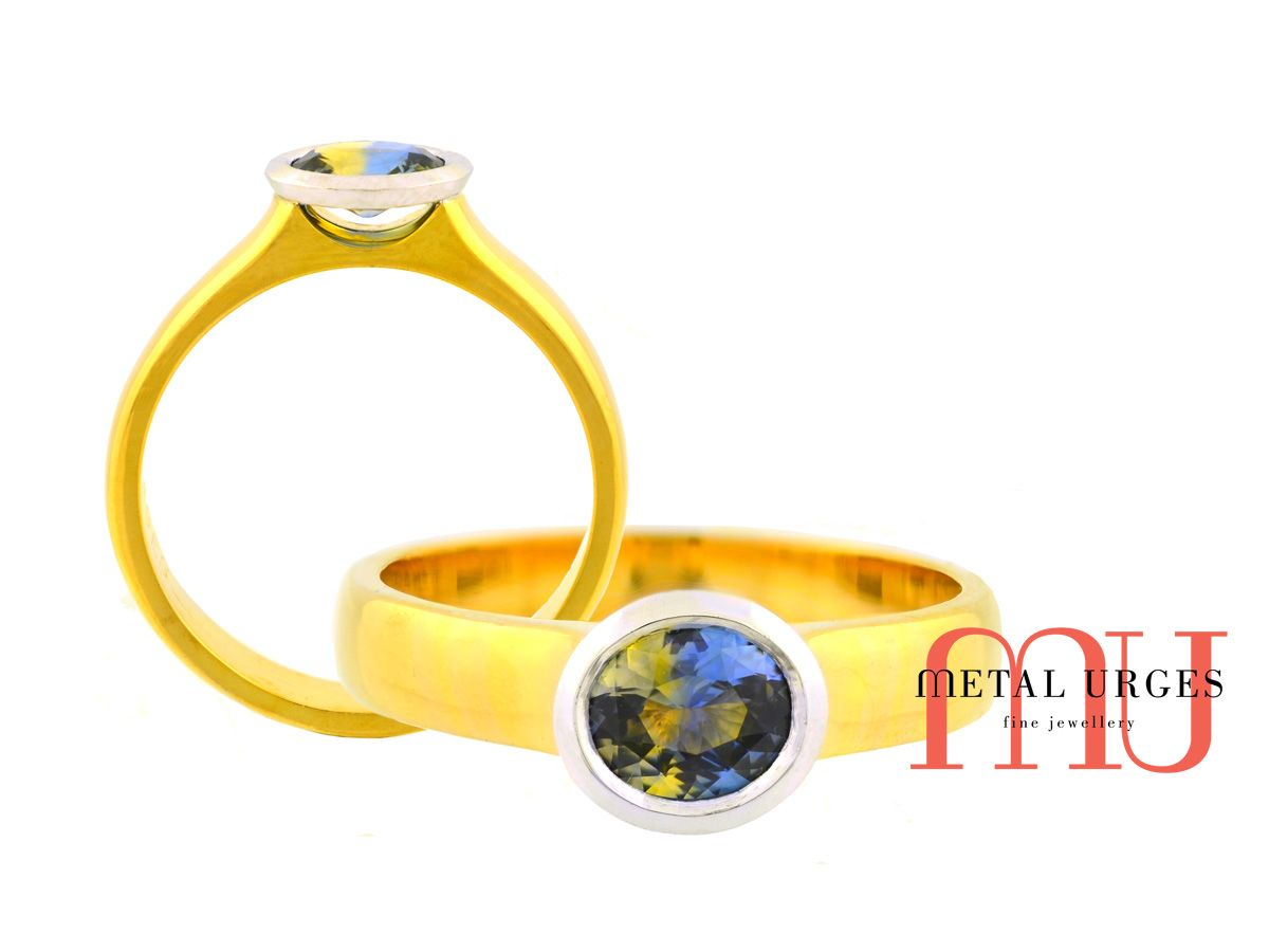 Bi coloured sapphrie and 18ct gold engagement ring. Custom made in Australia.