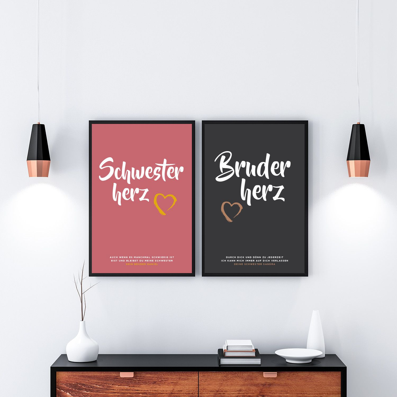 geschenk f r bruder oder schwester gesucht individuelle bilder mit wunschtext rahmen g nstig. Black Bedroom Furniture Sets. Home Design Ideas