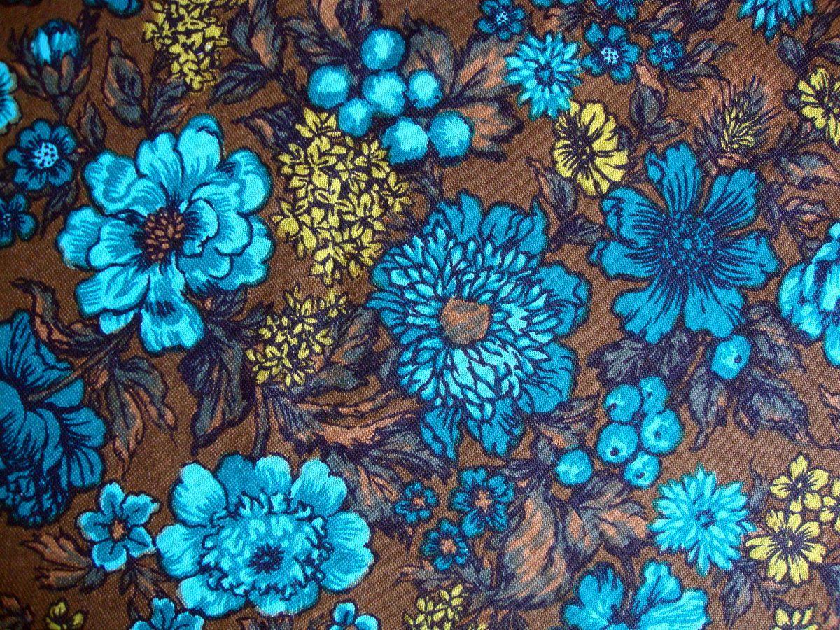 Vintage Fabric Upholstery 70s Blue Wonderful Geometric Stripe