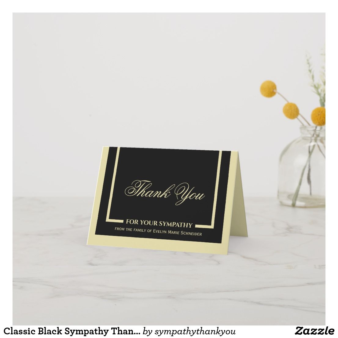 Classic black sympathy thank you note cards