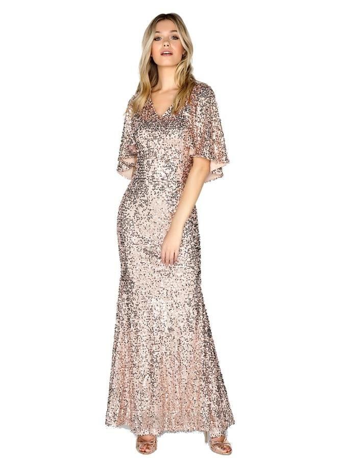 45f754c960c9 LITTLE MISTRESS Maxi šaty ve zlatých flitrech foto