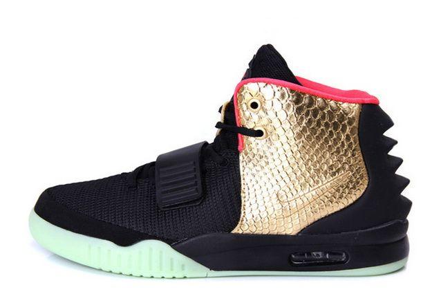 Mens Nike Air Yeezy 2 Imperial Black Gold Glow in the Dark