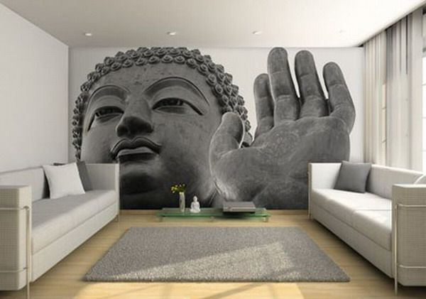 Tapeten Farben Ideen Buddha Bild Im Wohnzimmer