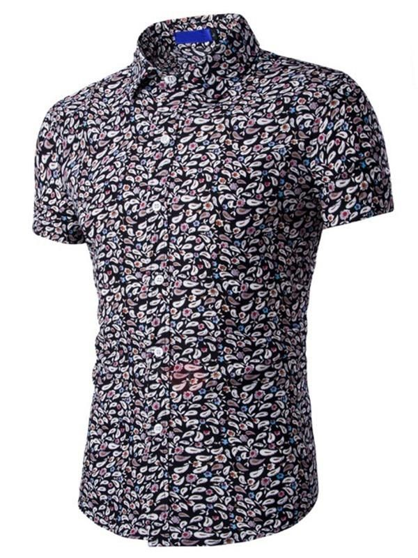 Seaside Printed Short Sleeve Slim Fit Shirt Cheap Online gnIch