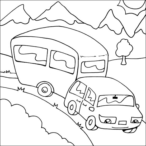 Caravan Drawing Camping Coloring Pages Coloring Pages