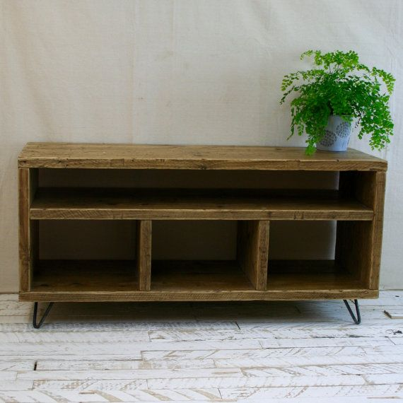 Reclaimed Wood Tv Stand Hairpin Leg Rustic Industrial Etsy