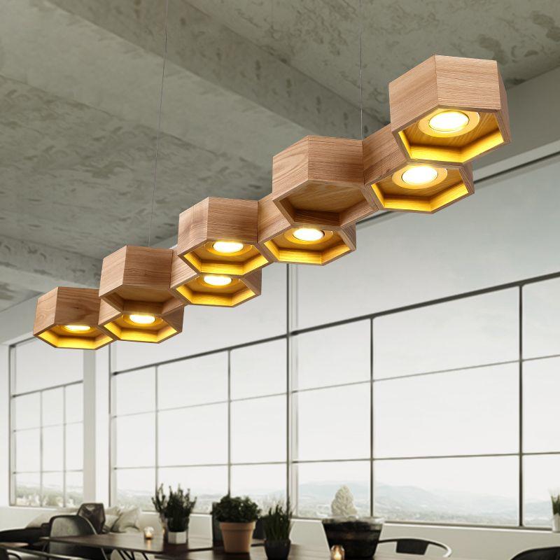 Gratis verzending hout eetkamer hanglamp indoor decoratie ...