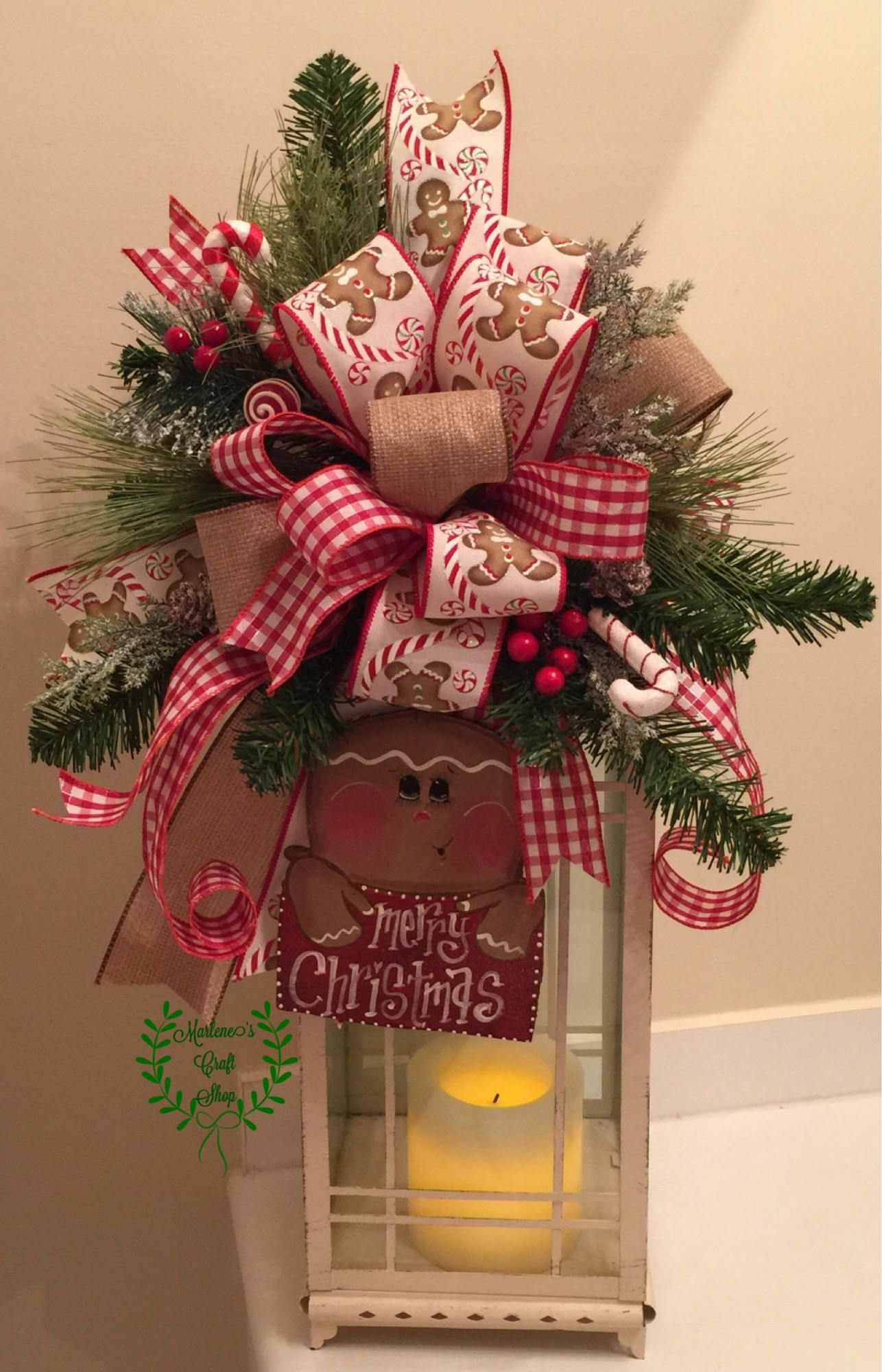 Gingerbread Lantern Swag Gingerbread Tree Topper Bow Etsy Christmas Tree Toppers Christmas Lanterns Tree Topper Bow