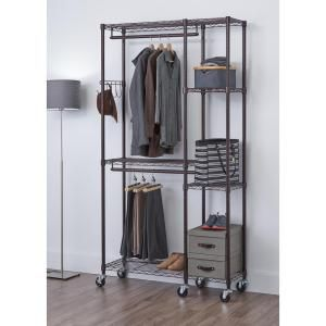 Trinity 14 In D X 41 In W X 77 5 In H Dark Bronze 5 Shelf Steel Closet System Organizer Tbfpbr 2702 Garment Racks Mobile Closet Closet Organizing Systems