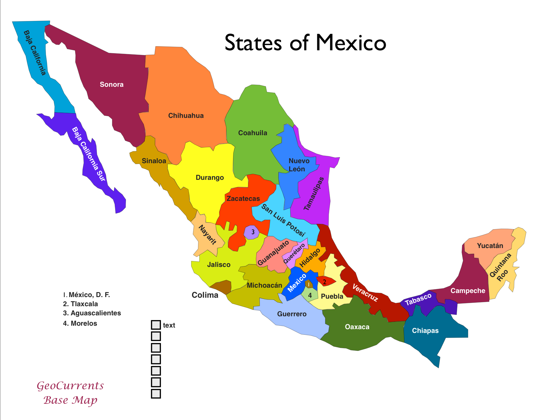 Image result for printable map showing mexican states | mexico in ...