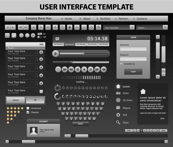 Steel Gray User Interface Template | Steel, Templates and User ...
