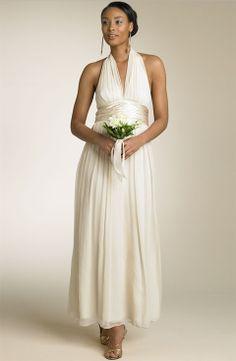 2017 Halter V Neck Empire Waist Full Length Chiffon Beach Wedding Dress