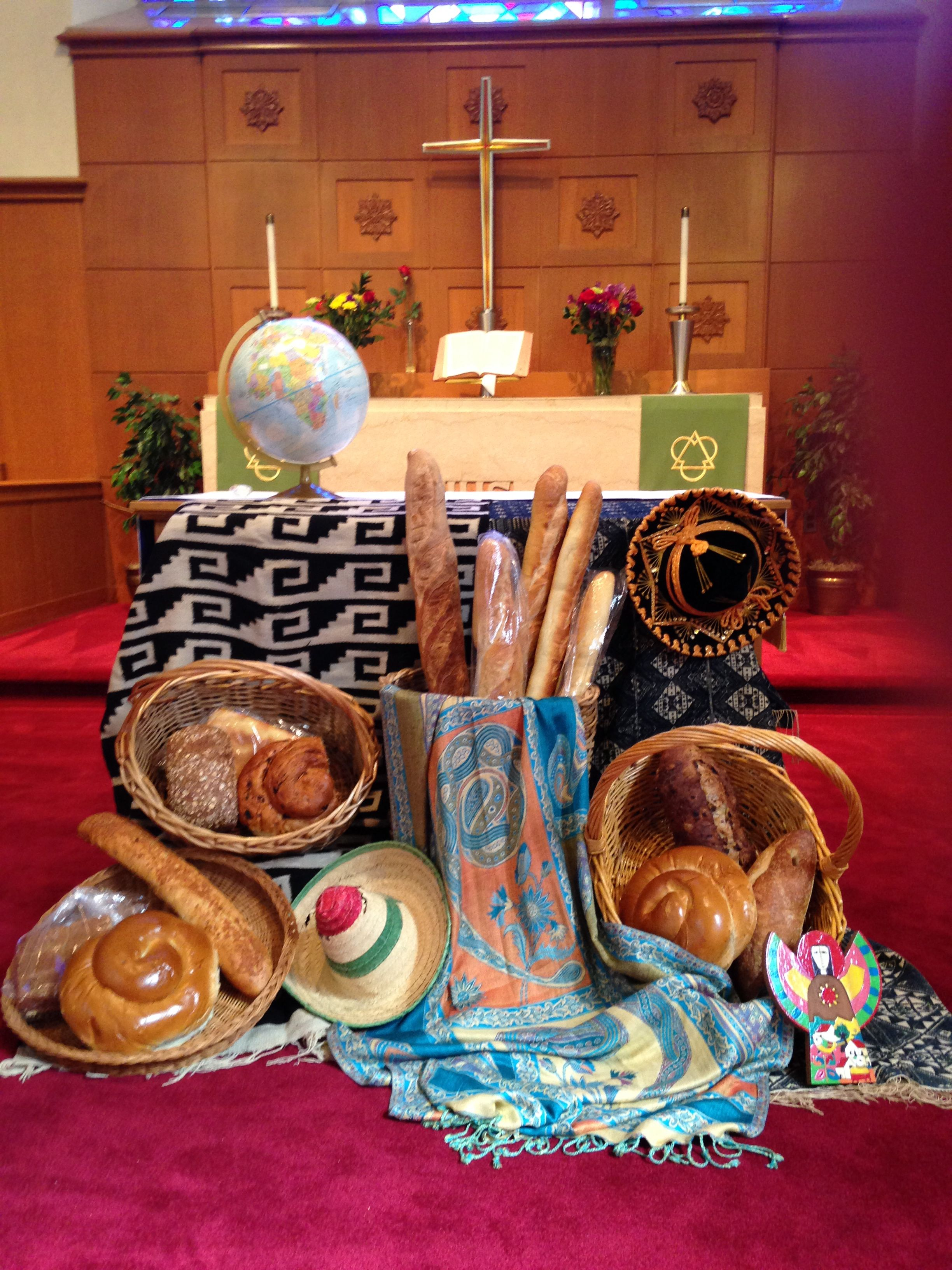 World communion sunday includes breads and tapestries from for Altar decoration for first holy communion