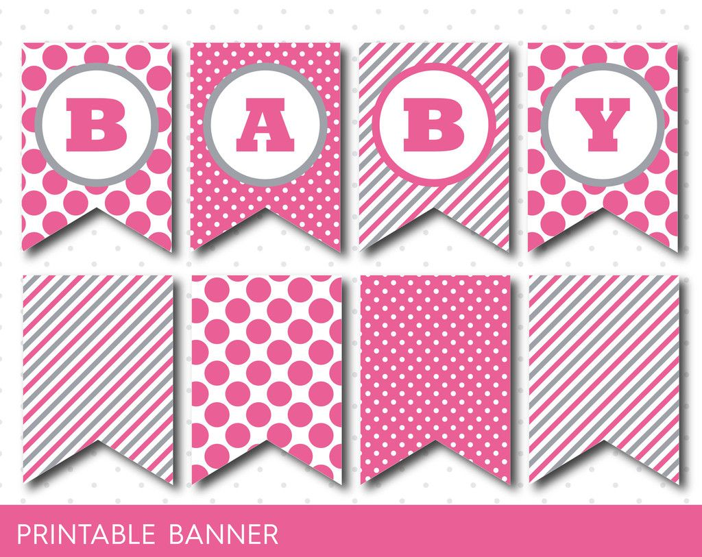 hot pink banner party banner birthday banner baby shower banner printable banner banner letters polka dot banner pb 20