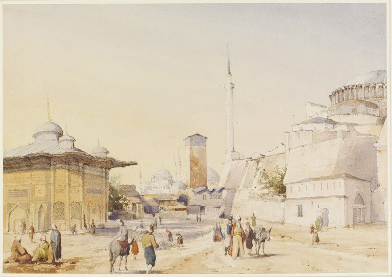 Fountain & part of Mosque of St. Sophia, Stamboul  V&A, 1847