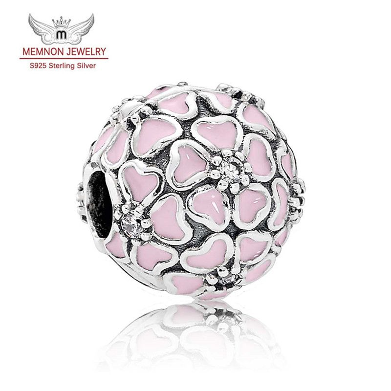 New Spring Silver Cherry Blossom Clip Charm 925 sterling silver Enamel charms fit beads bracelet DIY making Fine jewelry KT855