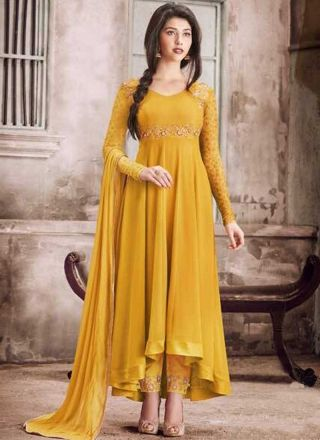 26b0be7d0c Mustard Embroidery Work Georgette Chiffon Designer Fancy Long Anarkali Suit