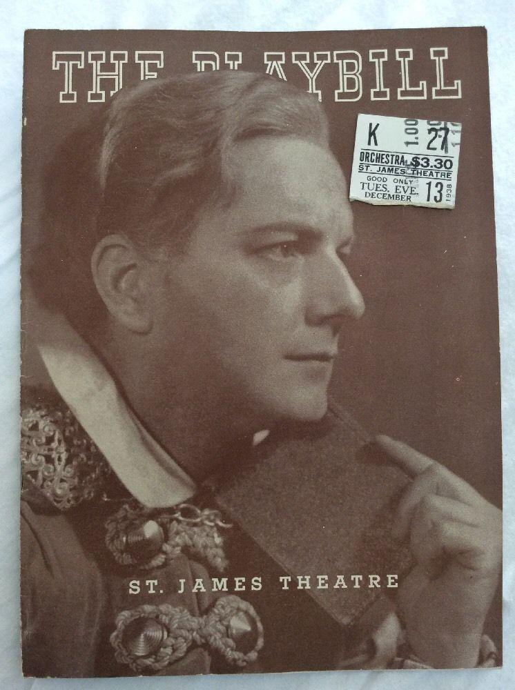 1938 #Playbill Hamlet St James #Theater #NYC #1930s #Ticket #Advertisements #vintage #ebay #forsale #forsaleonebay #weselldeadpeoplesstuffhq