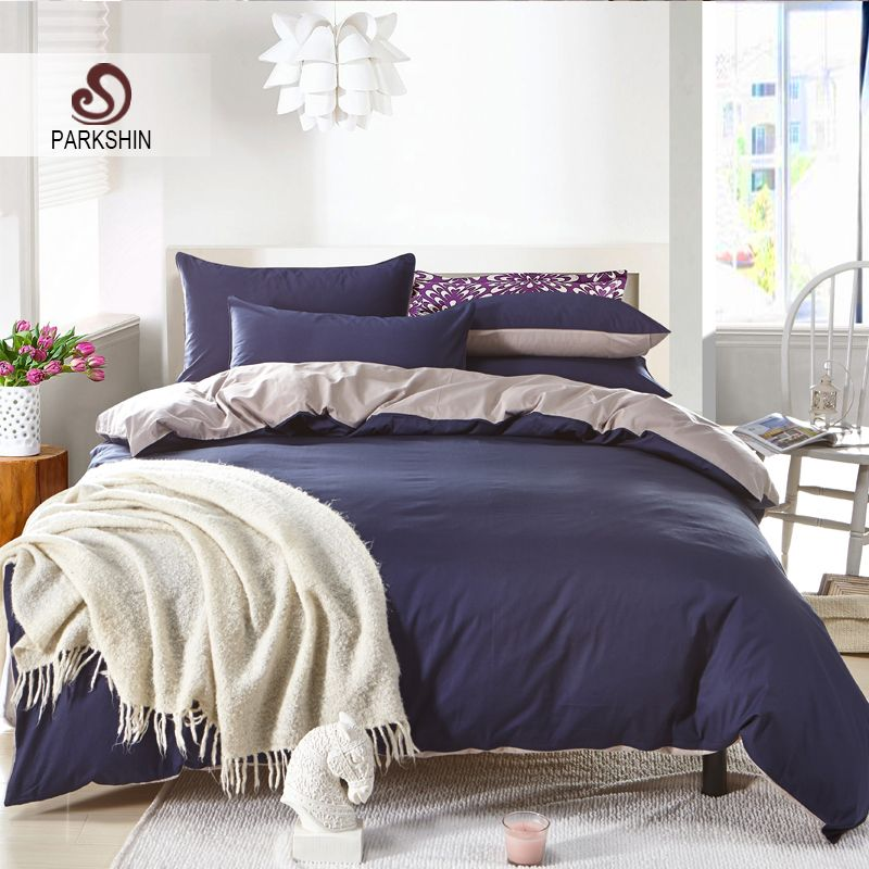 Parkshin Plain Double Bedding Set Solid Color Navy Blue And Gray