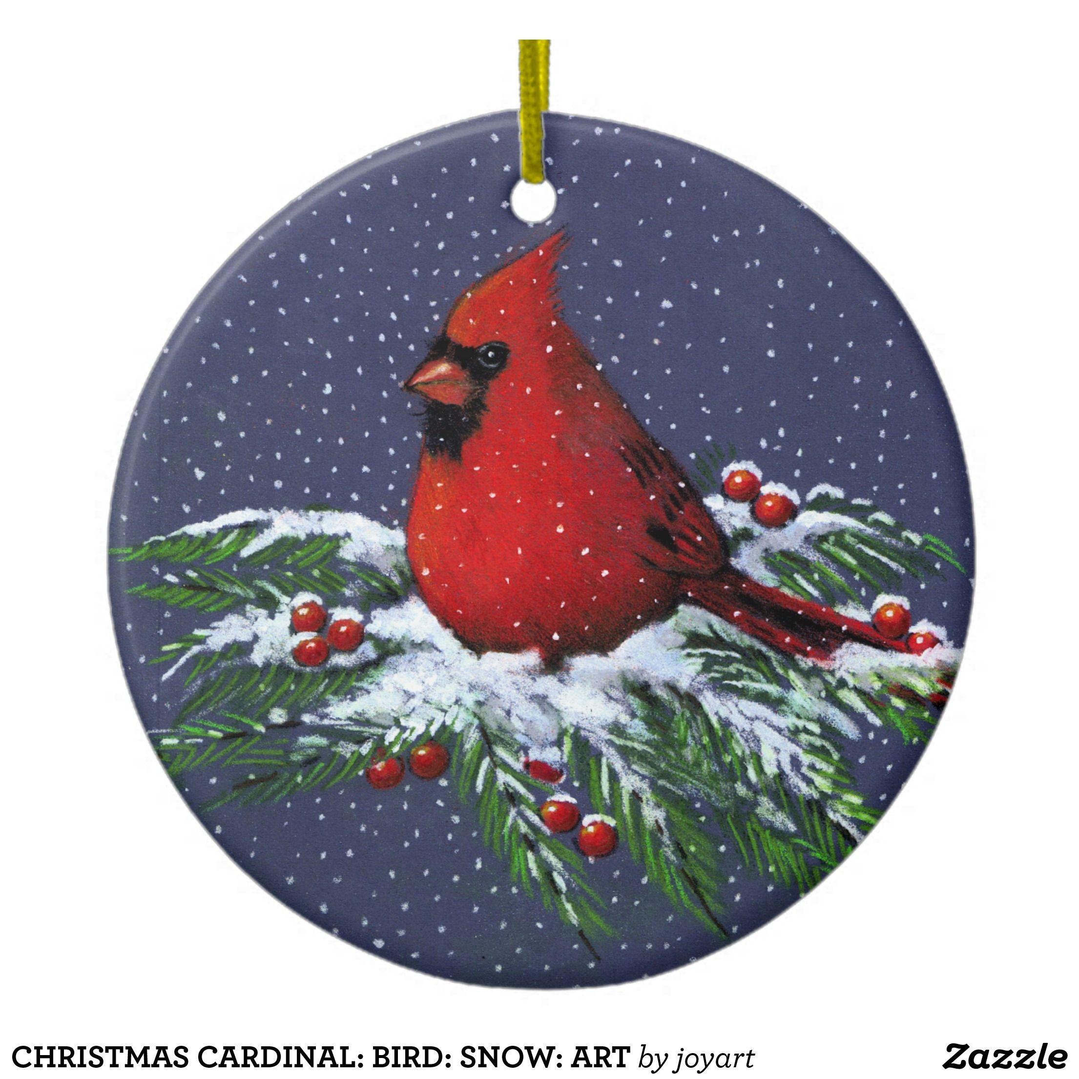 CHRISTMAS CARDINAL: BIRD: SNOW: ART CERAMIC ORNAMENT ...