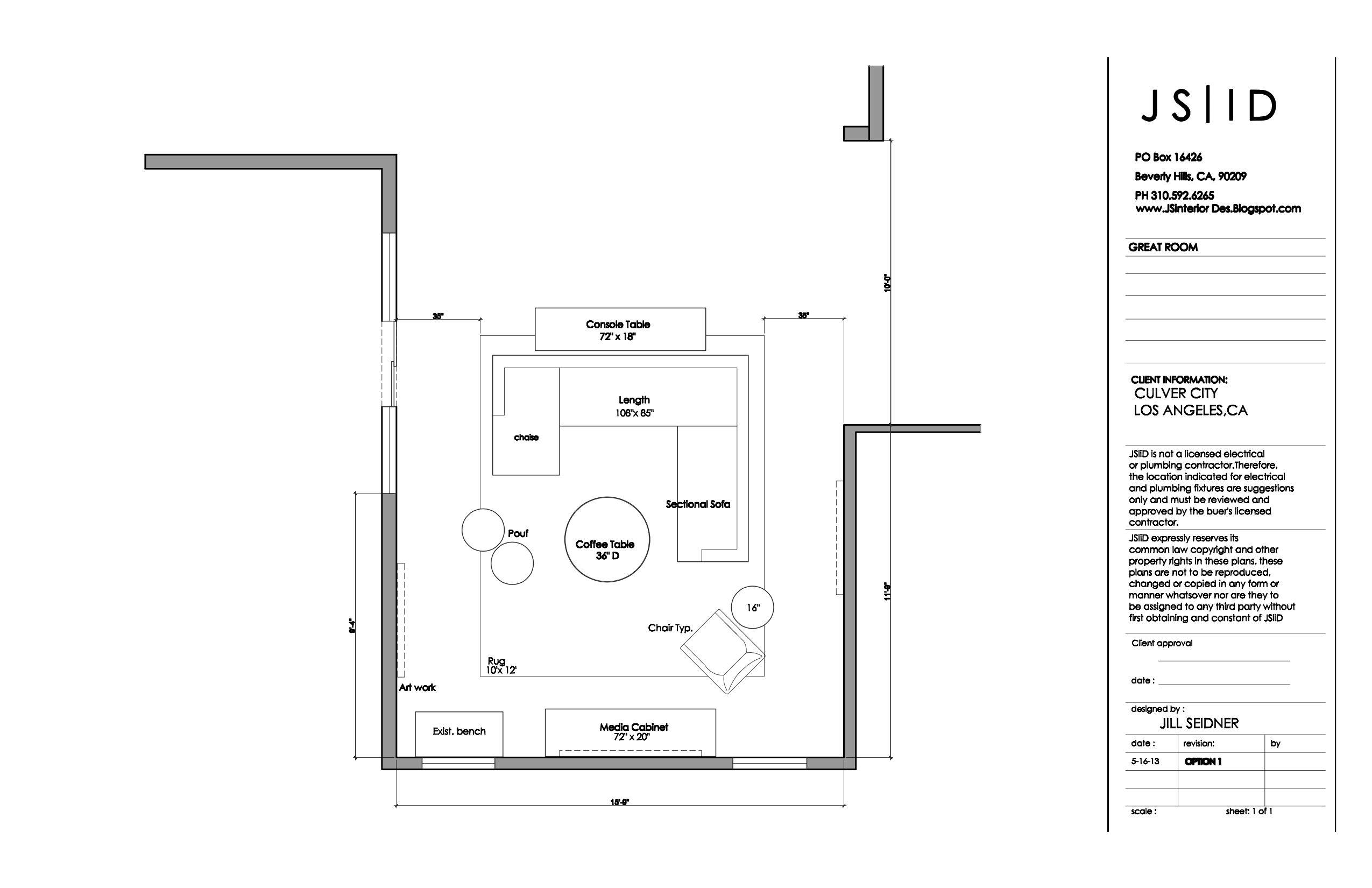 Culver City CA Residence Great Room Furniture Floor Plan