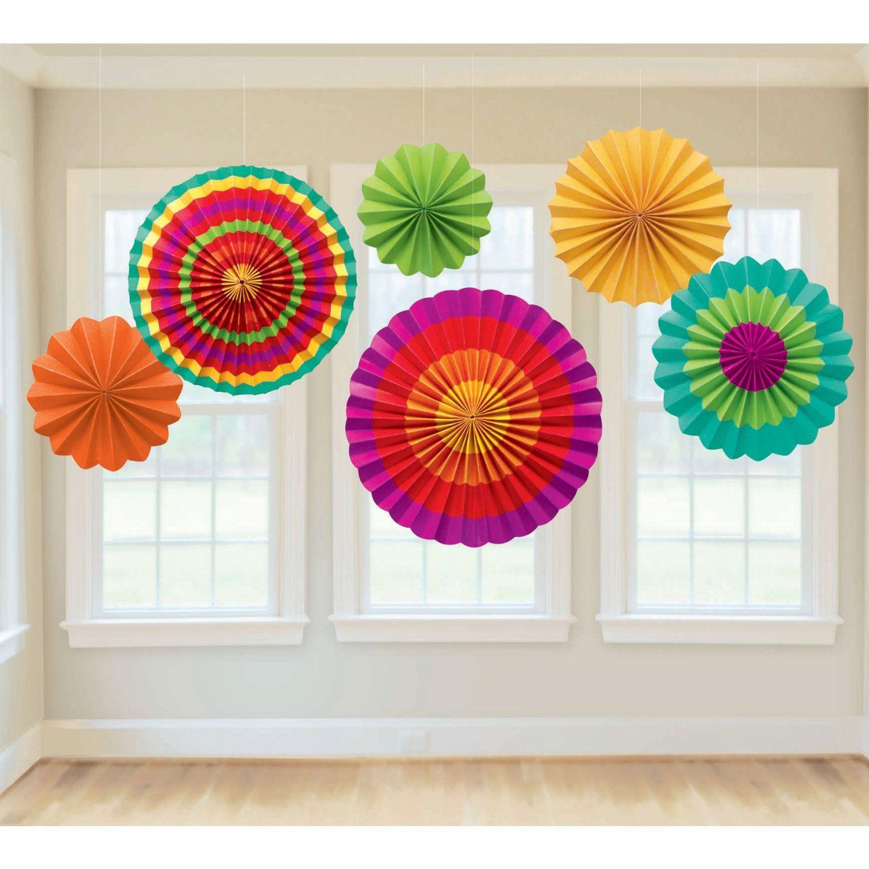 amazoncom fiesta paper fan decorations childrens party decorations toys games - Fiesta Decorations