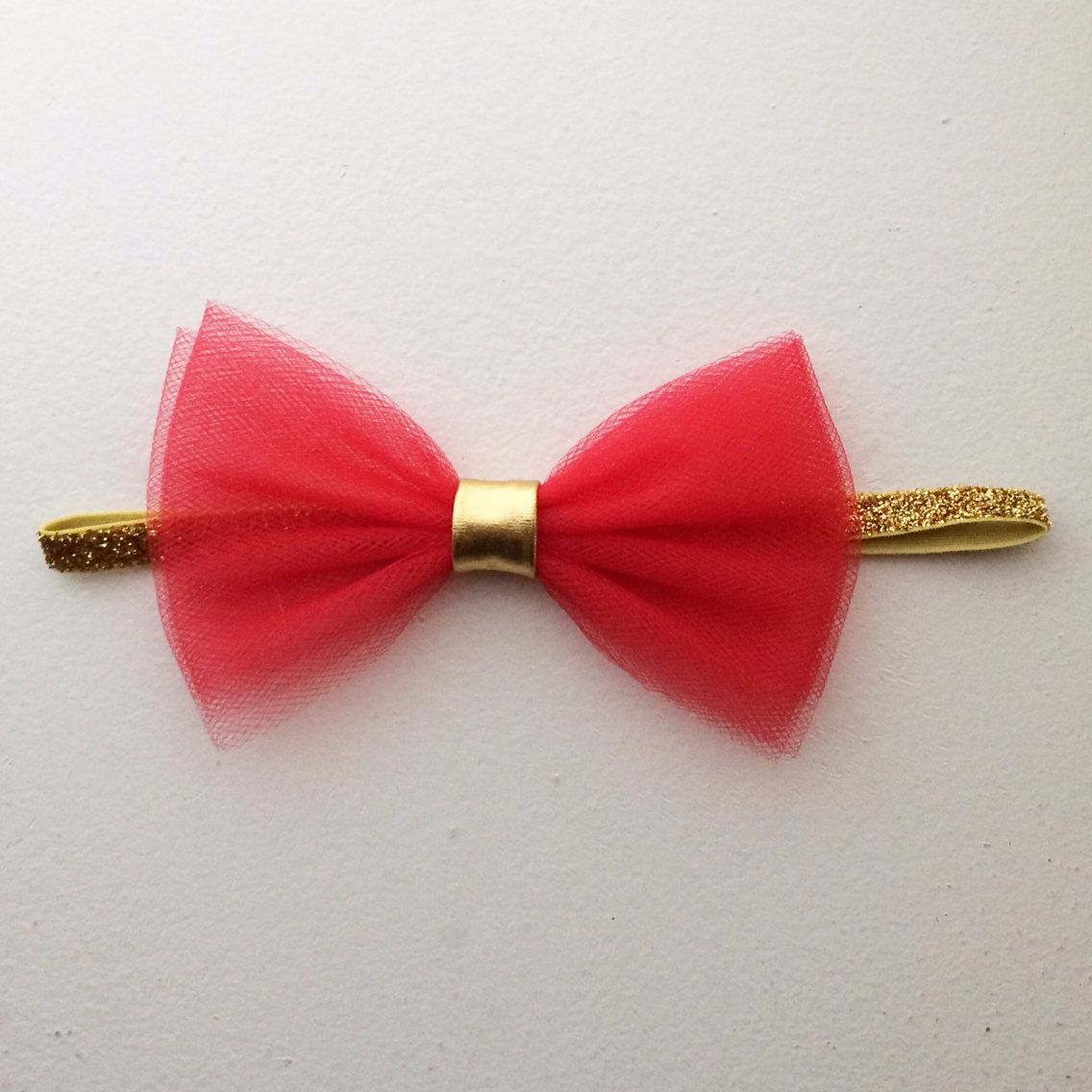 The Jasmine Headband with red tulle bow  by ConfettiBabe on Etsy, $8.00