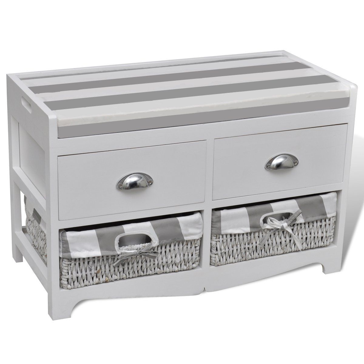 Banc de rangement avec 2 tiroirs et 2 paniers coussin for Rangement tiroirs cuisine