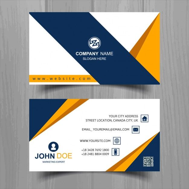 Download Geometric Business Card With A Blue Tape For Free Free