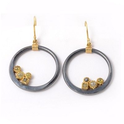 Todd Reed Earrings, 18ct Gold and Sterling Silver with 0.63 ct Rose Cut Diamonds and 0.2 ct Raw Cube Diamonds -
