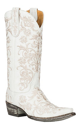 Old Gringo Women's Clarise White Leather with White Embroidery Western Snip Toe Boots #whiteembroidery