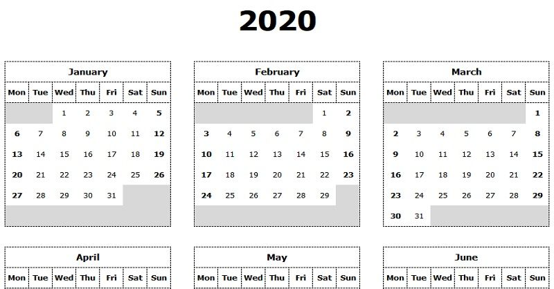 Download 2020 Yearly Calendar Mon Start Excel Template Exceldatapro Excel Calendar Template Calendar Template Excel Calendar
