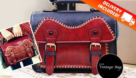 Our Deal - Vintage-style two-tone handbag, delivered for just $49! Fashionable, on trend