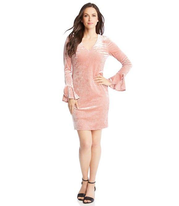 565d1926faf2c Crush Velvet Ruffle Sleeve Dress   2018 fashion   Ruffle sleeve ...