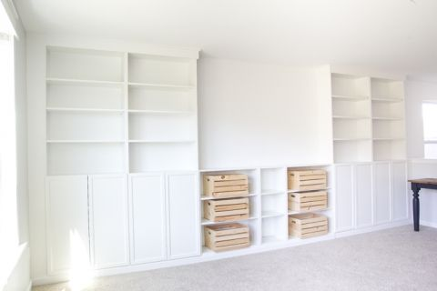 Diy Built Ins From Ikea Bookcases Orc Week 2 Bless Er House Ikea Bookcase Living Room Decor Ikea Ikea Billy Bookcase